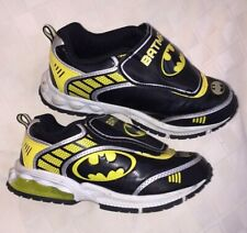 Batman Light up Sneakers Black & Yellow Athletic Shoes 13 slip-on strap