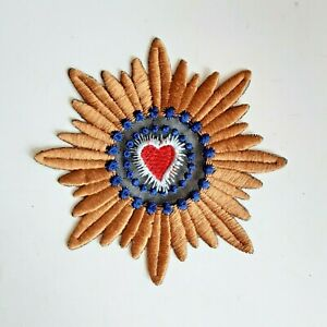 Heart Round Handmade Sew-On Embroidered Patch