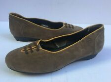 Ladies UK 6 Shoes Flats Suede Scholl Leather 39 Tan Brown Slip Ballet Pumps Shoe