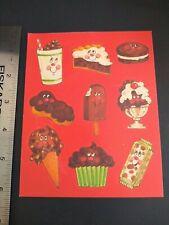 Vintage 80s Scratch n Sniff CHOCOLATE Sticker Sheet Matte VTG Ice Cream Candy