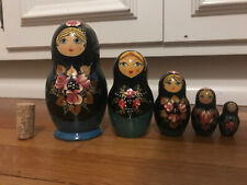 "5 pc 6.5"" Handpainted in Russia Matryoshka nesting dolls! Signed!"