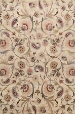 Floral Ivory Traditional Oriental Area Rug Hand-Tufted Living Room Carpet 8'x11'