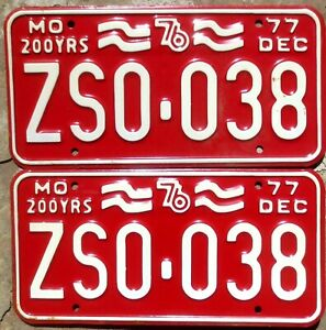 1977 Missouri License Plates Number Tag Pair Plate