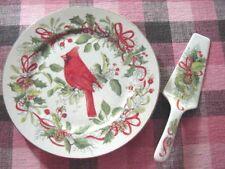 Retired~ANDREA SADEK Japan Porcelain China Dinner/Cake Cardinal PLATE & SERVER