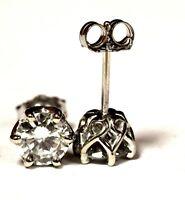 GIA 14k white gold 1.10ct VS2 G-H brilliant round diamond stud earrings 1.2g