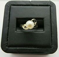 (RI3) Ladies' 14KYG Synthetic Pearl Solitaire Ring 2.6g Size 5
