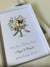 Handmade Personalised Boxed Wedding Card Engagement Anniversary Decorated Insert