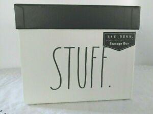 "Rae Dunn Storage Box STUFF Small Box Black & White 9.3"" L x 7.15"" W x 5.85"" H"