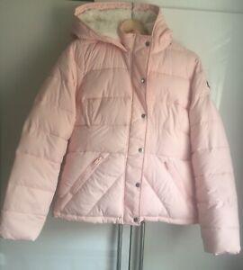 Hollister California Hooded Puffer Warm Jacket Women Size L Pink