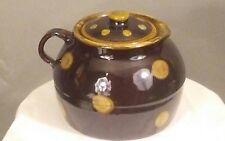 RARE Early Mary Alice M A HADLEY Pottery Brown Fleck Dot Covered Lid Bean Pot