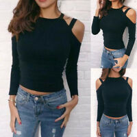 New Womens Sexy Long Sleeve Blouse Shirt Ladies Off The Shoulder Slim Tops Black
