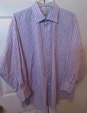 Tommy Bahama 100% Cotton Mens Long Sleeve Shirt 17.5 32/33 Purple Stripes EUC