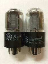Matched Pair GE General Electric 6SN7GTB Tubes Chrome Tops Strong Testing / 6SN7