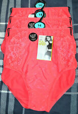 LADIES M&S FULL BRIEFS KNICKERS 3 PAIR SIZE 14 STRAWBERRY - BNWT