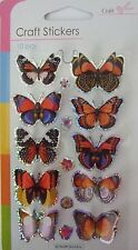 3D orange multi colou papillon autocollants-embellissements-lots de utilise 10 en pack