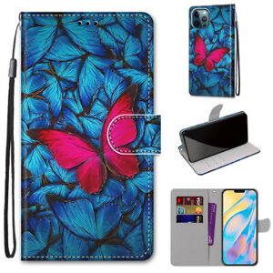 Women Girl Fashion Butterfly Flip Card Wallet Case Back Cover For Various Phones