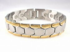 Stainless Steel Magnetic Bracelet 2 Tone Gold & Silver SS996-2T 80,000 Gauss
