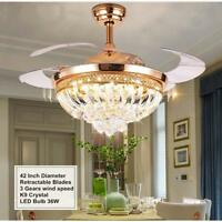 """42"""" Remote Retractable Ceiling Fans with Lights Crystal LED Chandeliers Lighting"""
