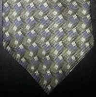 14ffbac1f090 GEOFFREY BEENE MADE IN ITALY GEOMETRIC Check GRAY Brown Silk Necktie ...