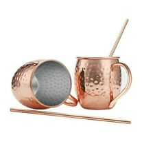 Moscow Mule Copper Mugs, Set of 2, 16 oz, HandCrafted Food Safe Pure Solid Beer