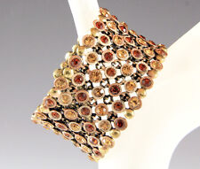 NEW BROWN GENUINE CRYSTALS EXPANDABLE OPEN-END 1.5-INCH WIDE CUFF BRACELET