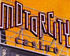 Motorcity Casino Sign Hand Colored Photo Art Detroit advertising gambling decor