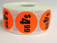 """1000 Labels 1.5"""" Round Bright Red $4.99 Price Point Pricing Retail Stickers"""