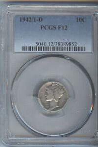 1942/1-D MERCURY DIME, PCGS F12