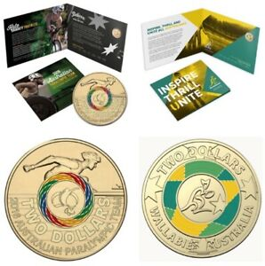 2016 RAM Paralympic & 2019 RAM Wallabies Rugby $2 Coloured UNC Coins in Folders
