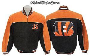 Cincinnati Bengals NFL Men's Full Zip Black Leather Suede Jacket