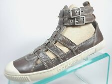 Pataugas Metallic Brown Leather Gladiator Style Ankle Strap Flats Shoes Size 37