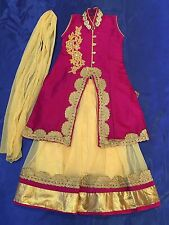 "18"" Age 1 Size Lahenga Choli Indian Bollywood Kids Dress Girls Skirt Pink Gold"