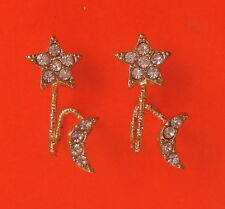 Pretty Gold Tone and Crystals Moon & Star Wrap Around Stud Earrings - UK Seller