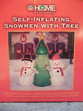 NIB New 5Ft  Tall Self-Inflating Snowmen Snowman with Tree