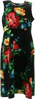 Slinky® Brand Sleeveless Printed Fit and Flare Dress, Black Floral 1X