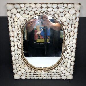 Antique Victorian Seashell Mirror Sea Shell Art Frame Sailors Valentine Coastal