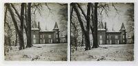 Francia Neige Piccolo Château Foto Stereo P50L3n8 Placca Da Lente Vintage c1930