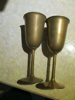 Brass Wine Vintage Goblets India Set of 2 Stem HEAVY Chalice Tall Glasses
