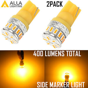 Alla Lighting 18-LED 194 Front Turn Signal Light Bulb Side Marker Parking Yellow