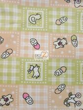 BABY PLAYTIME PRINT FLANNEL FABRIC - Tan/Green - BY YARD POLY COTTON CLOTHING