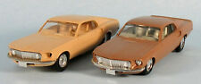 1969 Ford Mustang (Beige, Brown) 1/43 Scale Plastic Models BUILT! (Lot of 2)