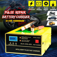 12V 200Ah 15A Car Motorcycle Pulse Repair Charging LCD Lead Acid Battery Charger