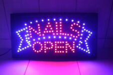 Nails Led Animated Store Signs Neon Bright Display Open Shops Salon Hair Us-2D