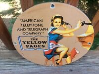 Vintage Yellow Pages Heavy Porcelain Sign 12""