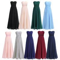 Women's Strapless Chiffon Long Maxi Dress Wedding Bridesmaid Gown Evening Party