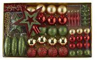 Alcove 60 PC Christmas Ornament Set - Tree Star Balls Teardrops and Hangers