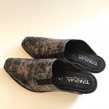 Tirrenia Italy Women Size 10M Black & Bronze Clog Slip Weges Mules Faux Croc