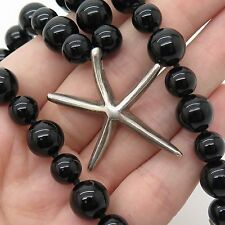 """925 Sterling Silver Real Black Onyx Gemstone Starfish Pendant Bead Necklace 15"""""""