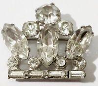 broche bijou vintage couronne couleur or blanc cristaux diamant brillance * 4341