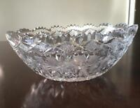 American Brilliant Cut Crystal Bowl White Roses Large and Heavy 11.75 x 7.50""